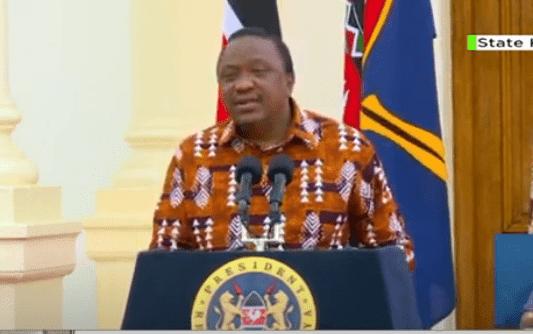 President Uhuru Kenyatta at statehouse Nairobi