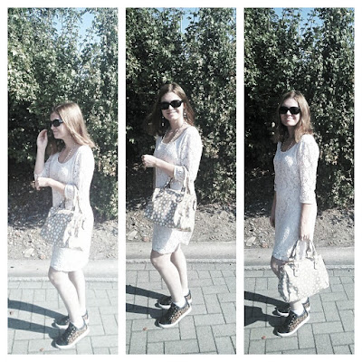 OOTD Outfit Ideas Classy Lace Dress Cream Shades Guess Shoes