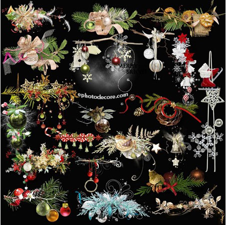 Winter clusters of Christmas and New year clipart PNG 2020