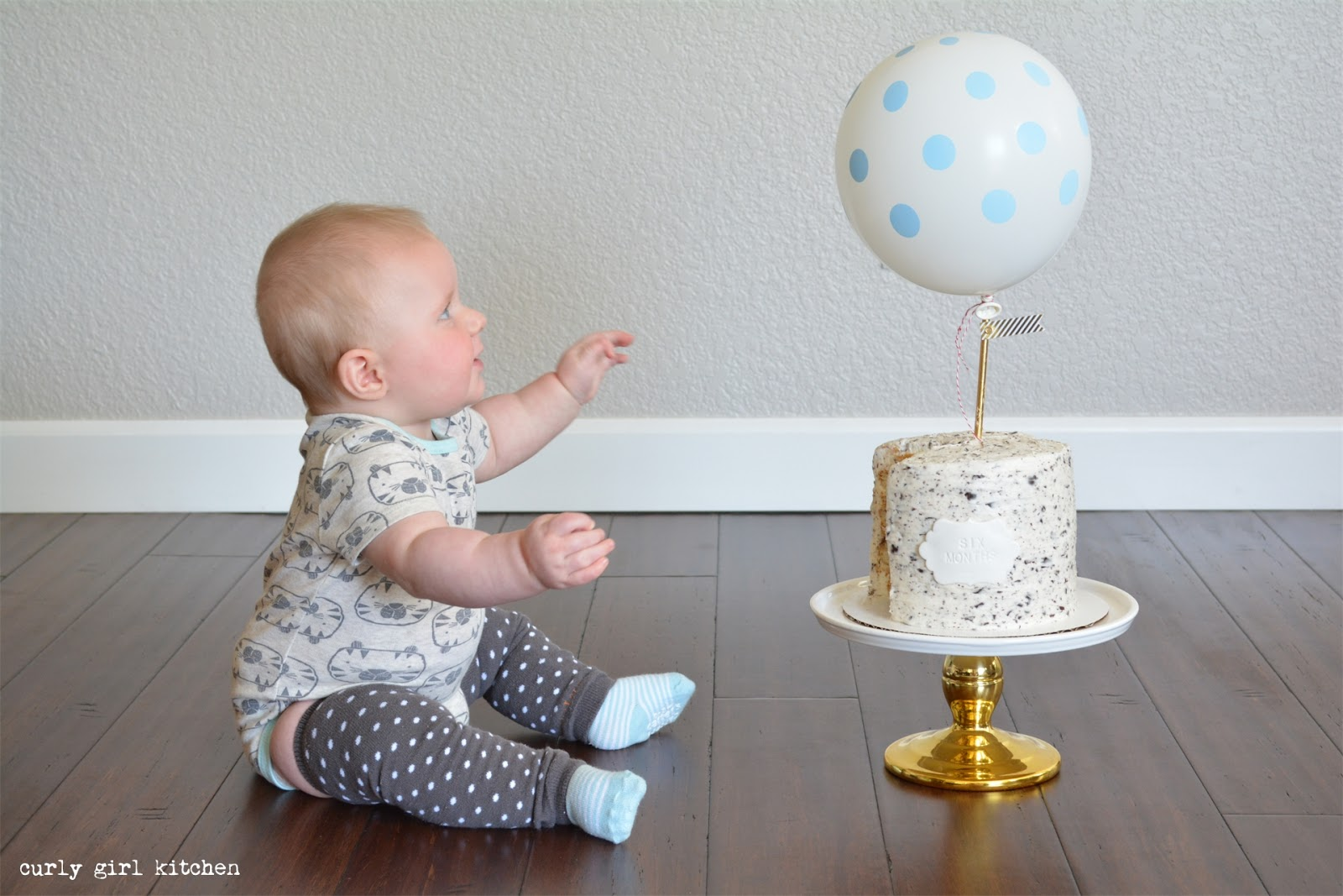 A Half Birthday Six Month Baby Photos Boy Cake Balloon Polkadot