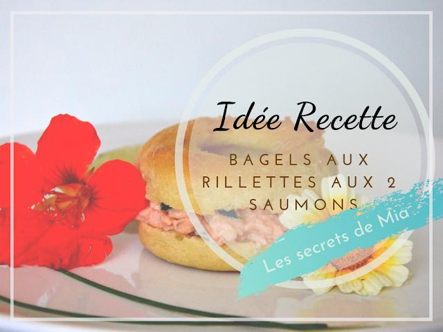 bagels garnis de rillettes de saumons décoré d'une fleur comestible de capucine