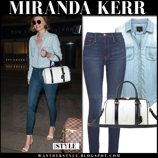 Miranda Kerr in light blue denim rails carter shirt and frame denim skinny jeans what she wore streetstyle