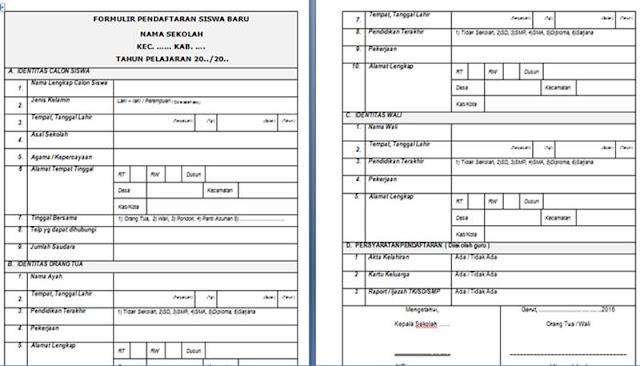 formulir pendaftaran siswa baru yang baik