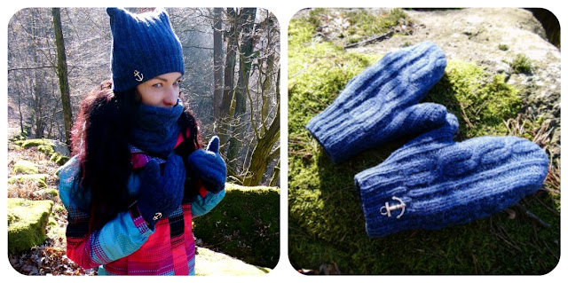 zimní set - čepice, šála, rukavice, DIY