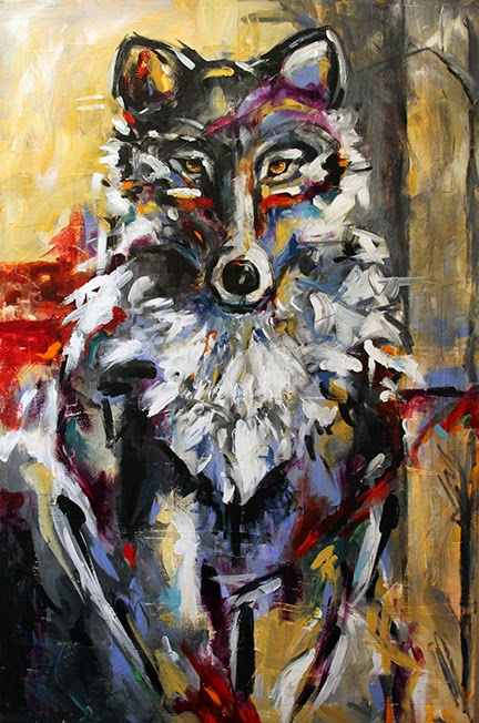 Lone Wolf Contemporary Painting By Texas Artist Laurie Pace