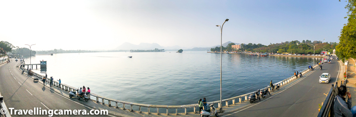 As you see Fateh Sagar lake first time after driving through the city, it looks huge. Above photograph shows panoramic view of the lake from an elevated point close to the road which surrounds the Fateh Sagar Lake. The road you see above is quite busy road and gets even busier in tourist season. So it's not very comfortable walking around the lake. And as you move closer to the area from where boats can be taken and there are activities to do, you feel more uncomfortable walking as it gets very crowded there. We will talk about different kinds of activities you can do around Fateh Sagar Lake in Udaipur.   There is no Entry Fee to visit Lake Fateh Sagar. The timings of Fateh sagar lake are from 8am till 6pm.  Boating can be the best way to take a quick tour of Lake Fateh sagar, although it depends on your own style or exploration and time in hand. There are many boating stations on the Fateh Sagar lake and you can make your own choice.