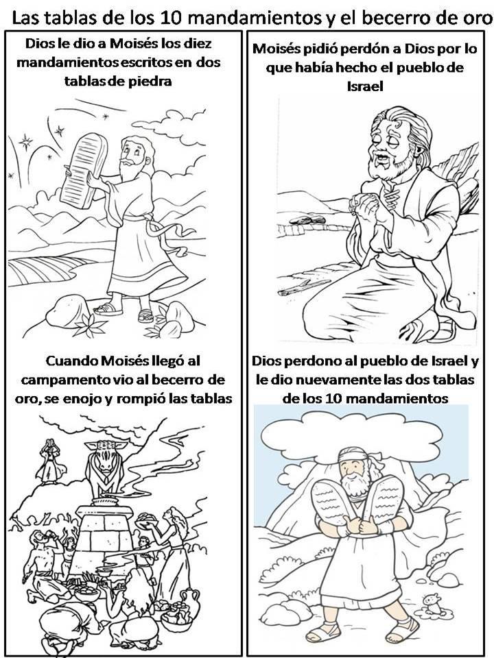 Bonito Los Diez Mandamientos De Moses Para Colorear Festooning ...