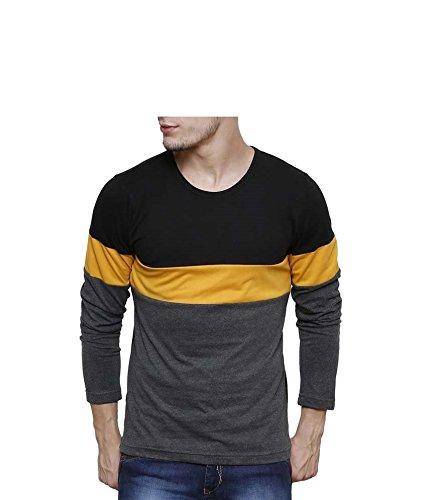 Buy Urbano Fashion Men's Black, Grey, Yellow Round Neck Full Sleeve T-Shirt at Amazon.in