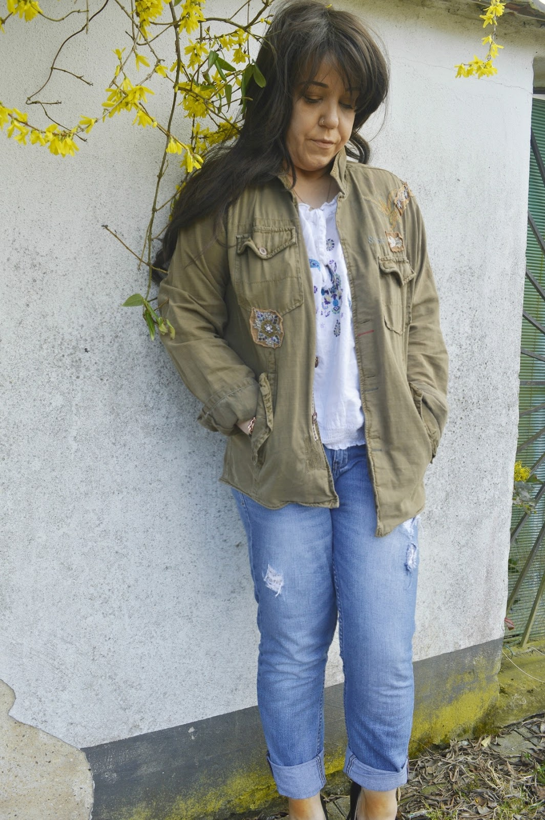 Boyfriend Jeans and Off-Shoulder Top with Military Jacket