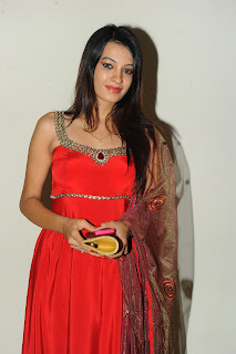 Deeksha Panth in Sleeveless Red Salwar Kameez Latest Picture Gallery at Hormones Audio Release Function