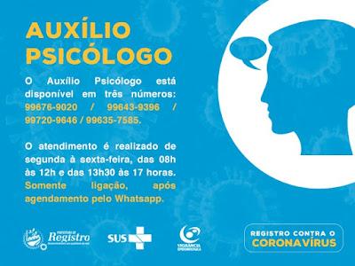 Prefeitura de Registro-SP disponibiliza auxílio psicológico
