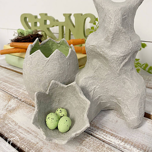 Faux Concrete Paper Mache Easter Bunny