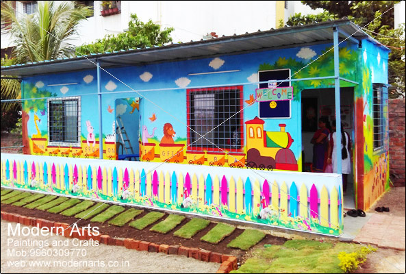 school wall painitng artist india