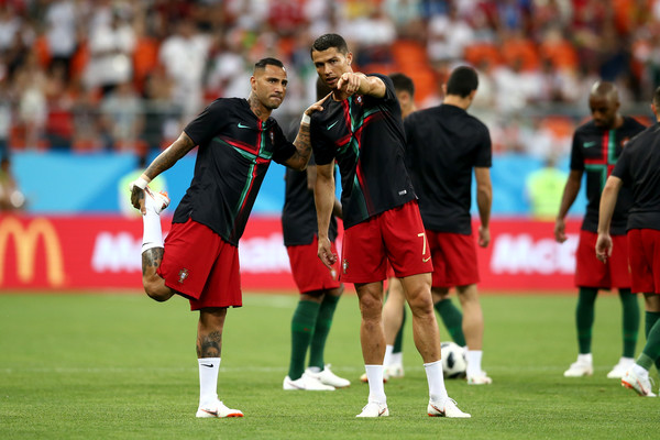 Cristiano Ronaldo and Ricardo Quaresma of Portugal warm up prior to the 2018 FIFA World Cup Russia group B match between Iran and Portugal at Mordovia Arena on June 25, 2018 in Saransk, Russia.