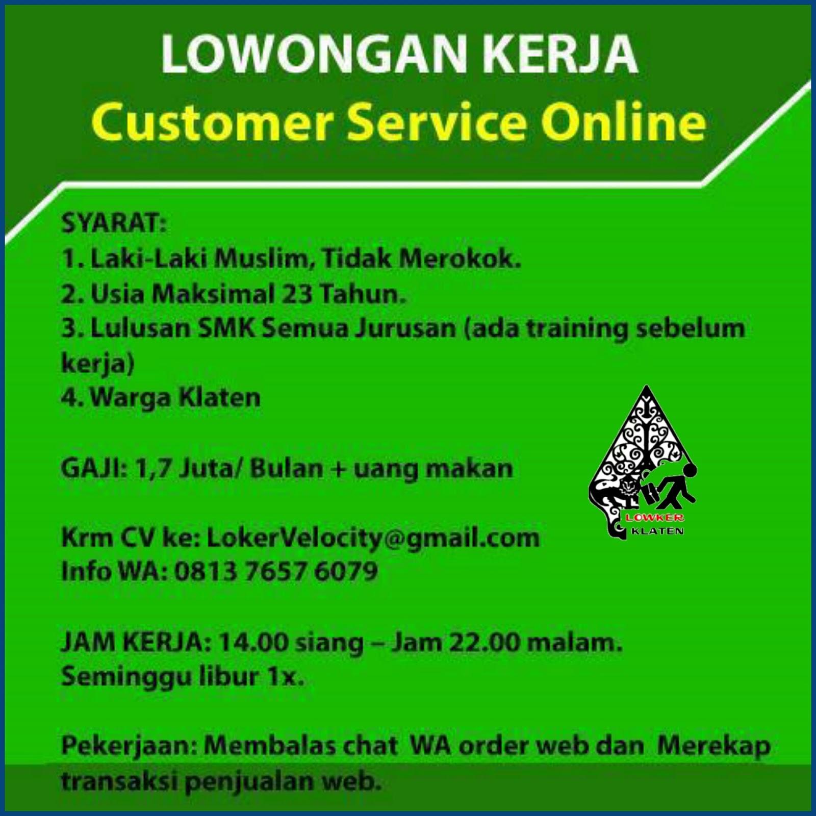 Lowongan Kerja Customer Service Online Velocity
