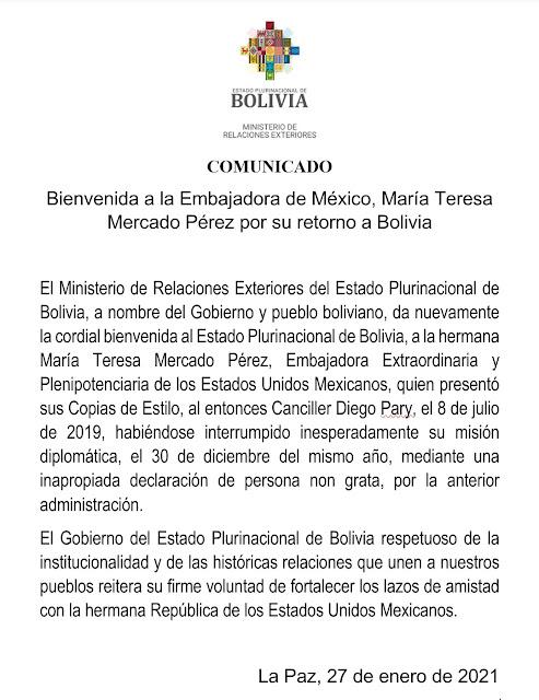 María Teresa Mercado Pérez, embajadora de México ante Bolivia regresa a La Paz