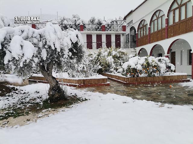 Χιόνια και στην ορεινή Ζόγκα Αργολίδας