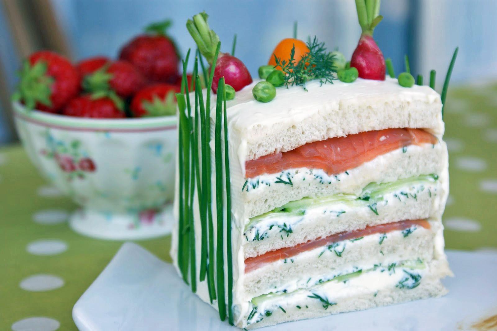 afternoon tea sandwich cake au saumon. Black Bedroom Furniture Sets. Home Design Ideas