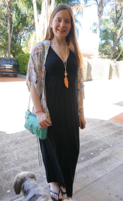 black halterneck jersey maxi dress Havaianas Somedays Lovin' Yakuza print kimono | away from the blue
