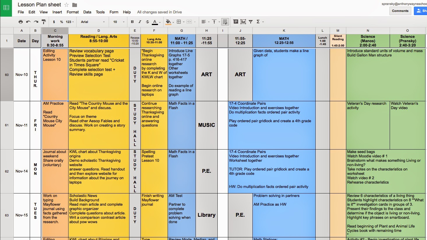 math is fundamental better lesson planning using google spreadsheets