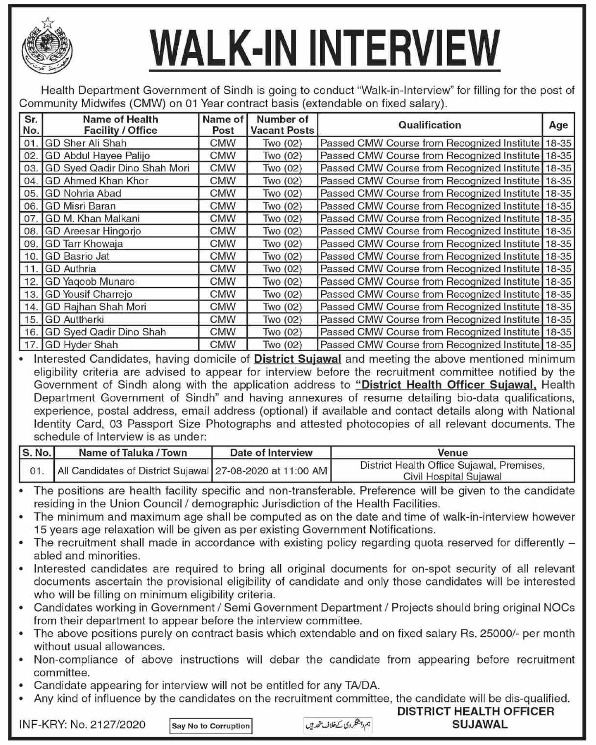 Walk in Interview Office of the District Health Officer Jobs 2020 | Multiple Positions