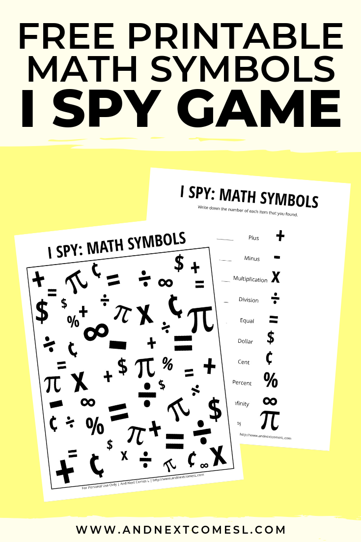 Free I spy game printable for kids: math themed