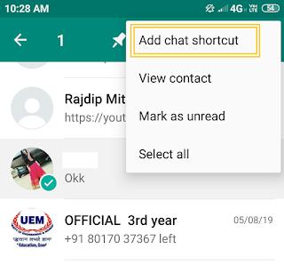 chat shortcut in whatsapp
