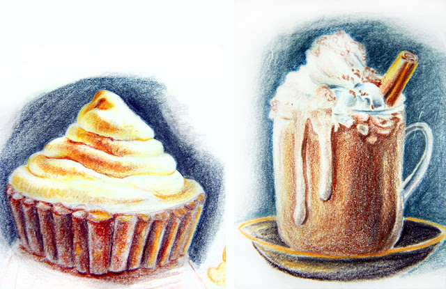 vanilla cupcake and cold chocolate with coffee and whipped cream
