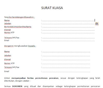 Format Surat pemberian kuasa untuk lembaga