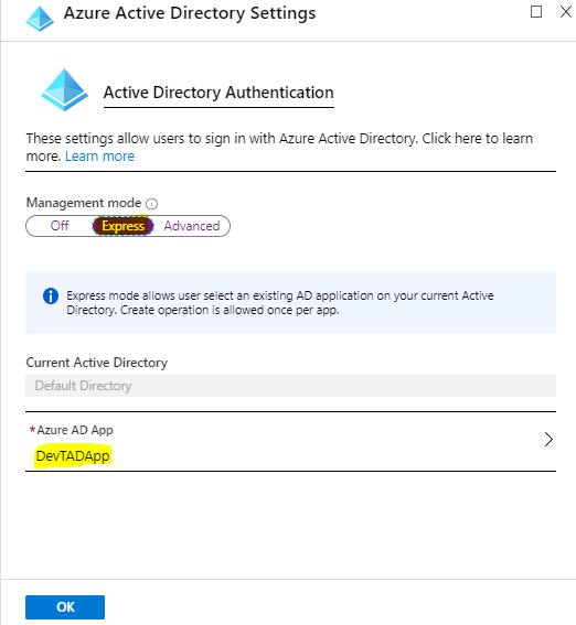 Select Existing AD App