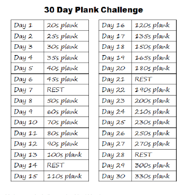 30 days squat,crunch and plank challenge