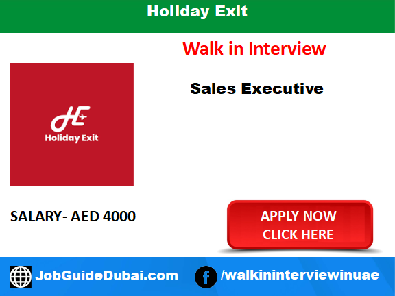 Holiday Exit career for Travel Consultant and Sales Executive job in Dubai