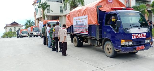 Peduli Kemanusiaan, Kasdim 0913/PPU Hadiri Pelepasan Bansos Bencana Gempa Prov Sulbar oleh Pemkab PPU