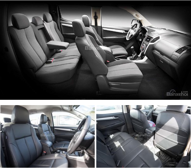 xe Isuzu D-MAX 3.0 có nội khá rộng rãi, hai hàng ghế và nhiều chi tiết bọc da