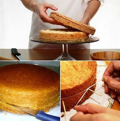 A imagem mostra como cortar um bolo ao meio para rechear. Que pode ser feito com faca ou fio dental.