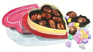 chocolate, watecolour, love, candy hearts, sweets, lollies, heart-shaped, box, original painting, artist jillian, Jillian Crider, SFA, Small Format art, illustrralia, Bonzer,