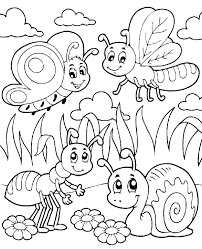 Cute Butterfly Snail and Ant At Garden Coloring Sheet