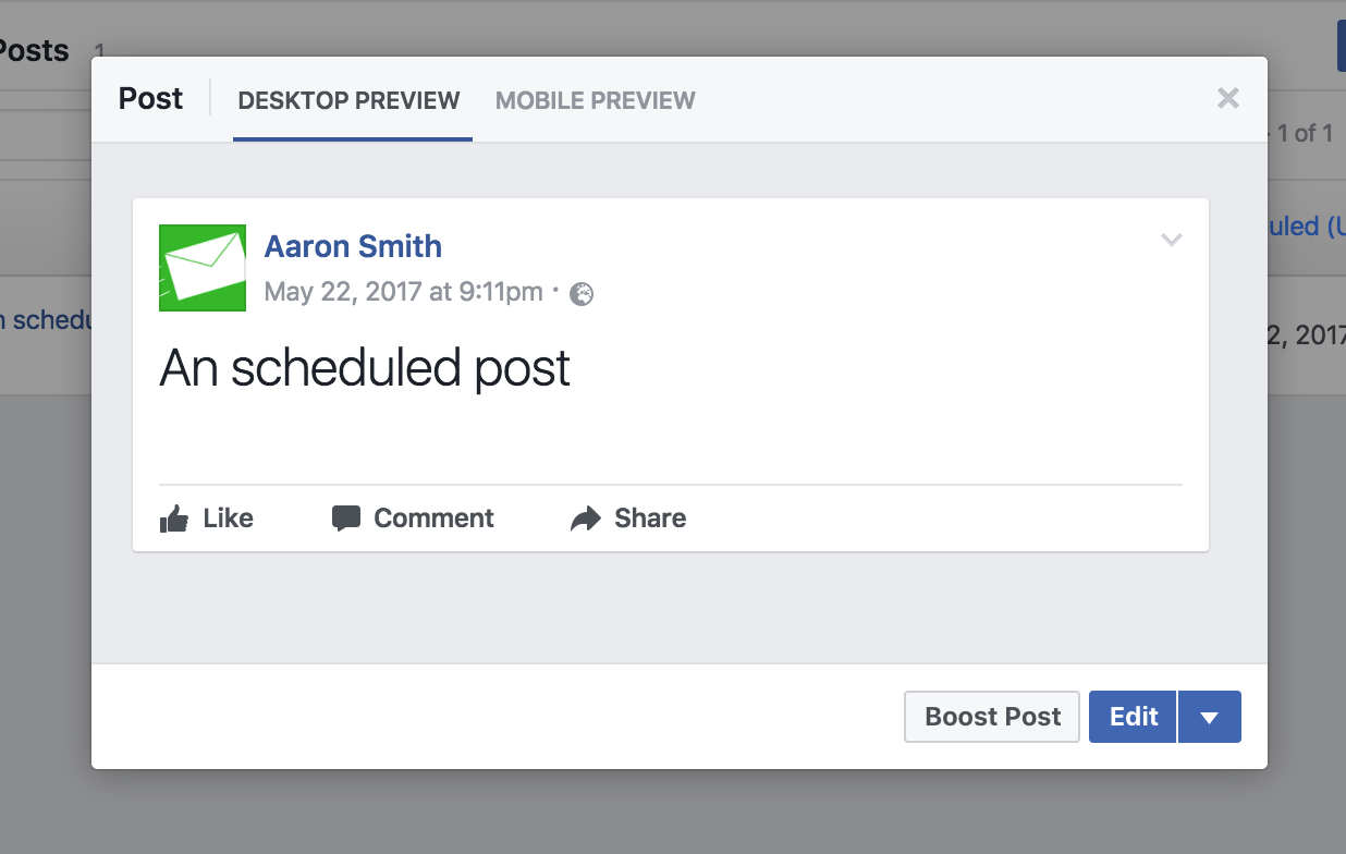 Scheduled facebook posts