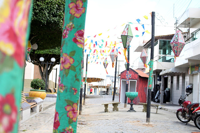 Decoração para o Festival do Buscapé deixa cidade em clima de festa