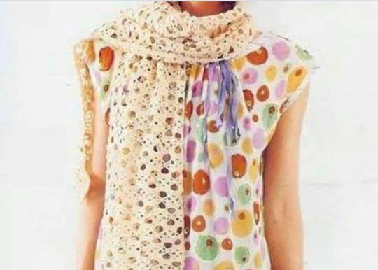 Patrón #1812: Bufanda Calada a Crochet