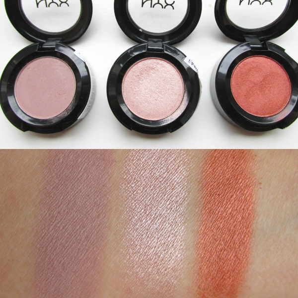 NYX Hot Singles Eyeshadows swatches nass / wet Coquette, Sin, Showgirl