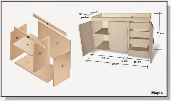 Plano de mueble de melamina proyecto 2 alacena de cocina for Muebles de cocina planos pdf