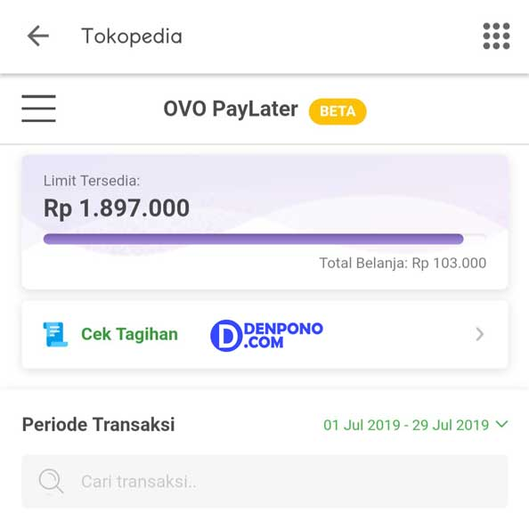 Berbagi Pengalaman Memakai OVO PayLater Tokopedia - Denpono Blog