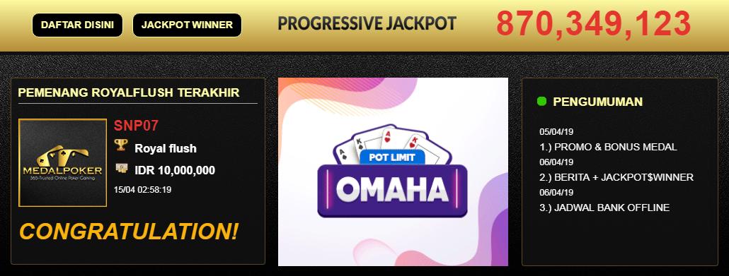 Jackpot Idnplay Idnpoker MEDALPOKER