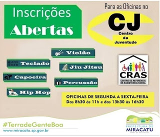 CENTRO DA JUVENTUDE DE MIRACATU ESTÁ COM VAGAS ABERTAS PARA DIVERSAS OFICINAS