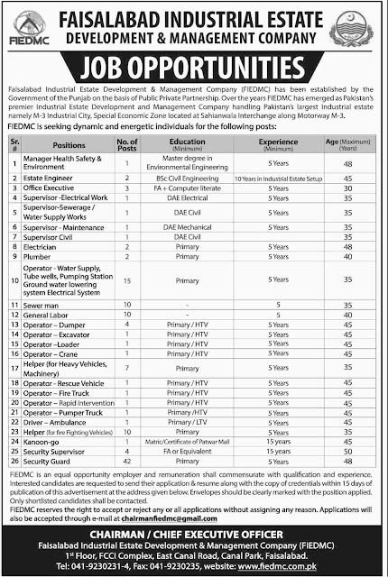 Jobs in Industrial Estate Faisalabad 2018