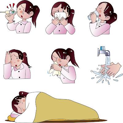 病気イラスト、風邪イラスト、インフルエンザ、カットイラスト