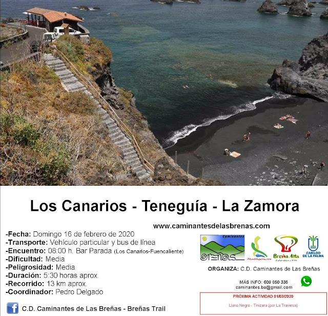 Caminantes de Las Breñas, Domingo 16 de Febrero: Los Canarios-Teneguía-La Zamora