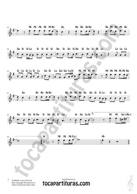 2 Partitura Fácil con Notas de Resistiré del gran Dúo Dinámico en Letras de Flautas, Violín, Saxofones, Clarinetes, Cornos, Trompetas... y instrumentos en Clave de Sol Spanish Notes Sheet Music for Treble Clef  Más Partituras PDF/MIDI con Notas aquí