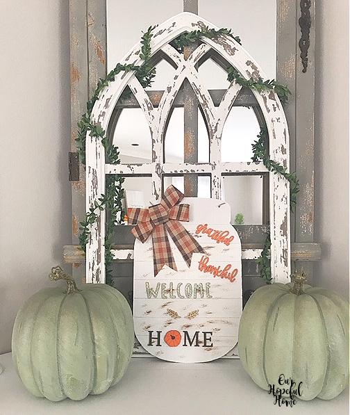 mason jar fall sign cathedral arch blue pumpkins mantel decor
